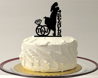 PERSONALIZED Wedding Cake Topper With YOUR Family Last Name + Initials of the Bride & Groom in a Wedding Ring Design SILHOUETTE Cake Topper