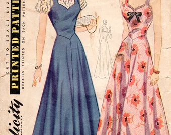 1940s Sleeveless Dress or Jumperwith Sweetheart Neckline - Vintage Pattern Simplicity 3655 - B34 Basque Waist