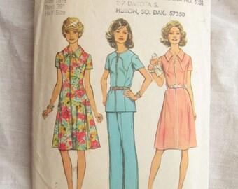 1970s Simplicity 6342 Princess Seam Yoke Dress or Tunic Vintage Sewing Pattern Bust 39 Half Size Pattern