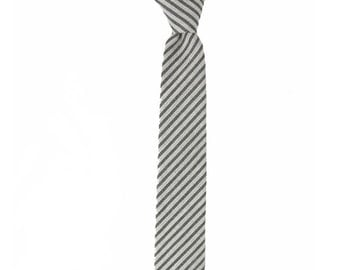 Zach - Gray Stripe Cotton Men's Tie
