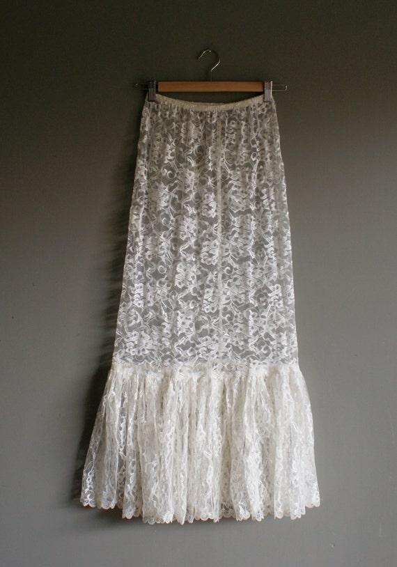 vintage lace white sheer boho maxi skirt xs m