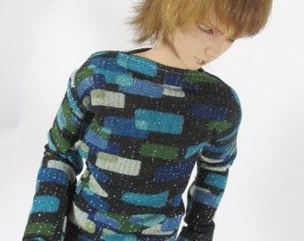 Blue Green Grey Patterned Sweater for MSD SD+ Ball Jointed Doll