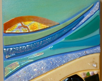 Big Island Bliss Glass on Canvas Wall Hanging Shelly Batha Hawaii Island Fused Glass