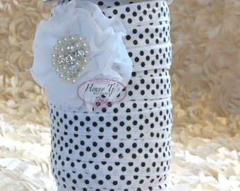 "5 Yds 5/8"" Patterned FOE Elastic - WHITE w/ BLACK Polka Dots Chevron Print Shiny Fold Over Elastic - Elastic Hair Ties Headband Supplies"
