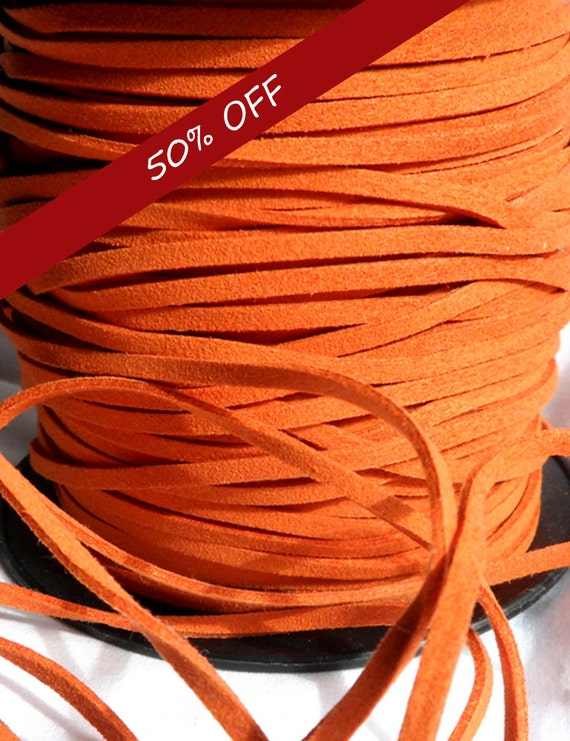 3 Yards- Orange Suede Cord