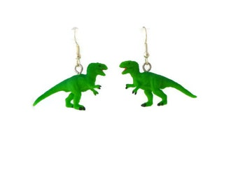 Dinosaur Earrings Green T-Rex Tyrannosaurus Earrings, Dino, Small Dinosaur Dangle Earrings