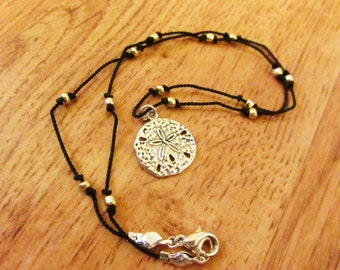 Nautical Knotted cord and Seed bead Necklace with Sterling Silver Pendant Sand dollar Starfish