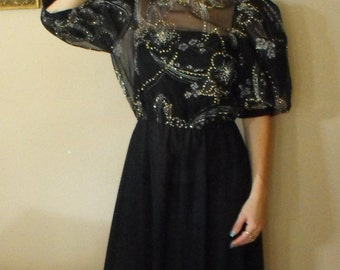 80s Metallic Floral Black Gold Dress Sheer Vintage Jackie Taub Poof Sleeves S