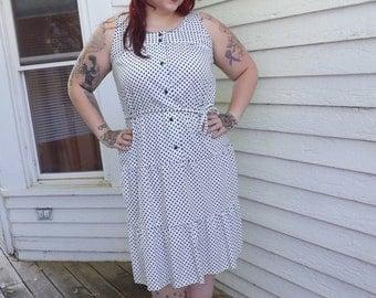 Polka Dot Dress White Cotton Vintage 60s 1960s Dee Dee 16 XL Plus