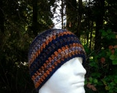 mens hat, boys beanie, crochet hat, beanie, navy blue, orange, tan, brown, vegan friendly, hats for men, multi-colored, youth/adult 4926