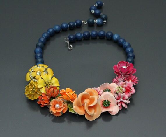 April Showers Bring May Flowers. Vintage Repurposed Enamel Statement Necklace.