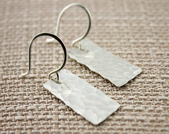 Sterling Silver Hammered Organic Rectangle Earrings on Sterling Silver Ear Wires