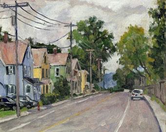 North Adams, Overcast. Small Urban Realist Oil Painting, 8x10 New England Plein Air Impressionist Oil on Panel, Signed Original Fine Art