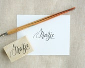 Grazie Hand-Drawn Calligraphy Rubber Stamp