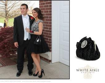 Black Clutch, Black Bridal Clutch, Prom Clutch, Wedding Clutch, Evening Bag, Vintage Style Clutch with Rhinestone Trim Crystal Flower Brooch