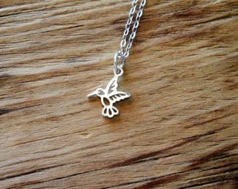 Tiny Hummingbird Sterling Silver Necklace