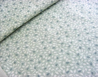 """Vintage Cotton Decorator Fabric -Little Blue Leafy Vines Small Print """"Thicket"""" Exclusive Screen Print -17"""" wide BTY Great for Valances"""