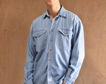 TWIN PEAKS blue 80s 90s DENIM long sleeve cotton button up