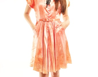JESSA 50s Handmade Hand Dyed Silk Coral Pink Tie Dyed Shiny Sleek Chic Formal Belted Day Dress Medium
