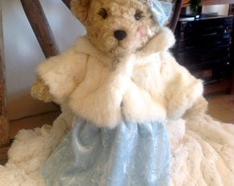 Elsa, A Snow Queen Artist Bear, featuring handcrafted genuine ermine mink coat