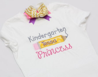 Personalized Back to School Shirt - With Coordinating Hairbow - Kindergarton Princess