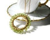 SALE Peridot Circle Necklace Green Crystal Infinity Necklace Mothers Necklace Gold