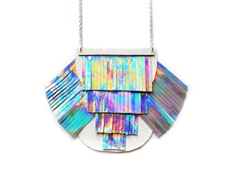Holographic Necklace, Leather Necklace, Metallic Bib Necklace, Geometric Necklace, Rainbow Tassel Modern Necklace, Space Futuristic Necklace
