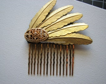 Brass hair comb | gold | vintage | rhinestone | feather headpiece | steampunk | final sale