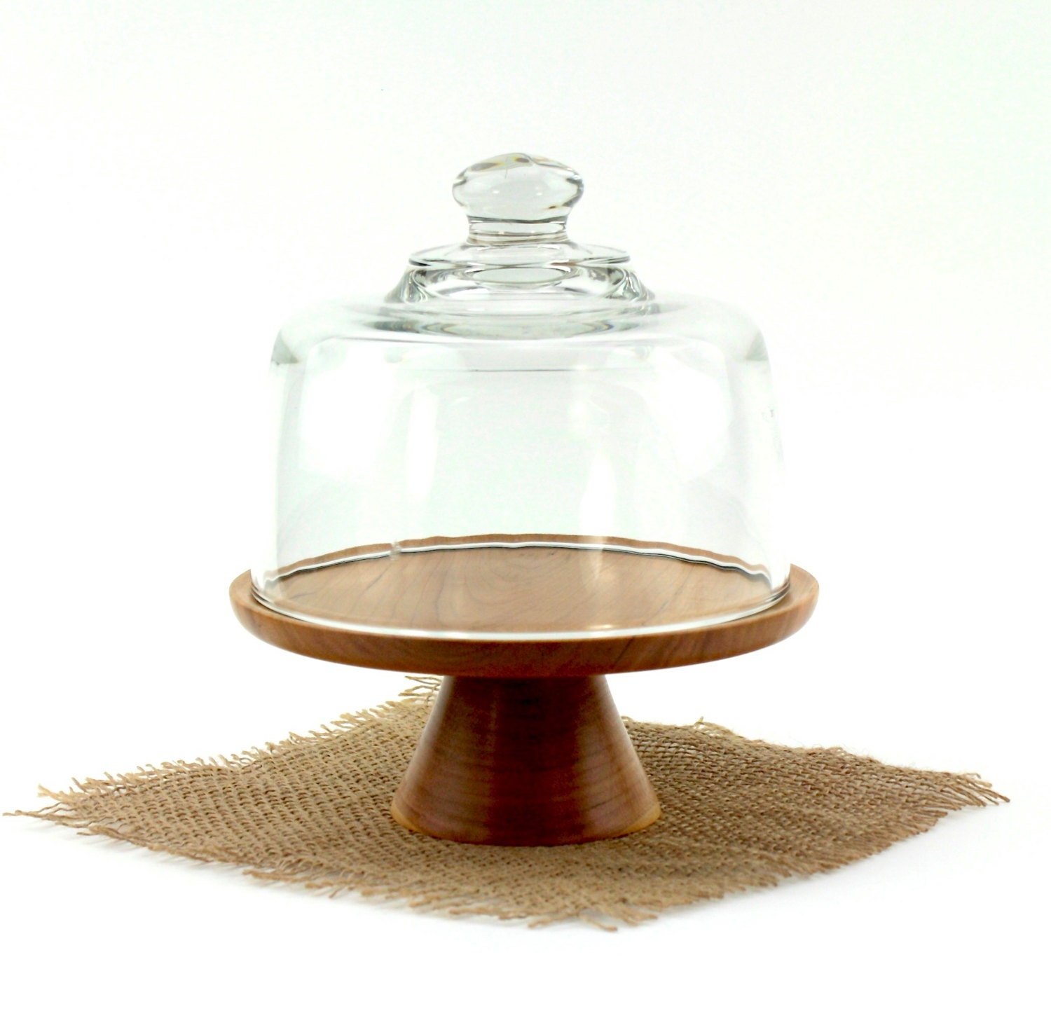 wooden cherry cake stand with glass dome pedestal cake plate. Black Bedroom Furniture Sets. Home Design Ideas