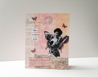 Handmade Greeting Card - original collage - vintage inspired - graduation, celebration, new job, congratulations, birthday