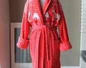 80s Plush Reindeer Bathrobe Super thick luxurious unisex bathrobe Red and White