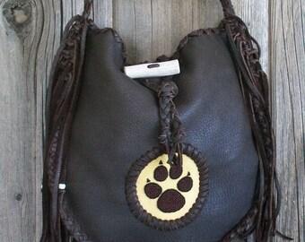 Chocolate brown handbag with a beaded wolf totem , Handmade fringed leather tote , Leather handbag