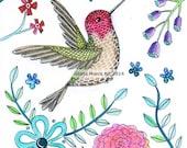 Anna's Hummingbird  Matted Print of a Folk art Painting Bird, woodland, bird art, birds illustration, Wall Art, Colibri by Gloria Marco