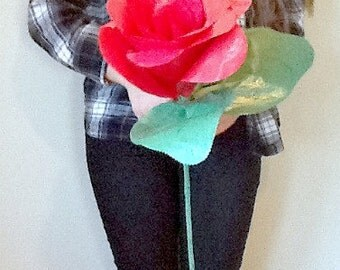 Red Rose Paper Mache Photography Prop