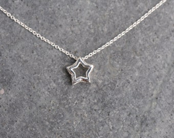 Star Necklace - Sterling Silver chain with STERLING SILVER open star charms