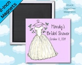 Bridal Shower Favors - Wedding Dress Magnets - 2 Inch Squares - Set of 10 Magnets