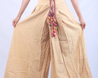 100 percent hemp wide leg pants flower batik/embroidery for Women Light Yellow