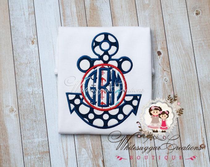 Anchor Shirt - Custom Monogram - Baby Boy Summer Shirt - Cruise Shirt