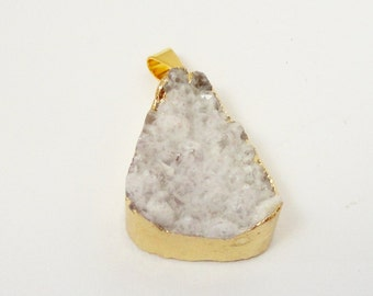 White Gold Druzy Pendant - Crystal Druzy Agate - Gold Electroplated Edge- Natural White Drusy Jewelry - Select With/ Without Chain