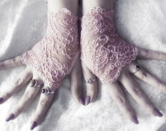 Lyric Lace Fingerless Glove Mittens | Dusty Mauve Rose Pink Floral | Victorian Wedding Bridal Mori Girl Belly Dance Goth Bohemian Gothic