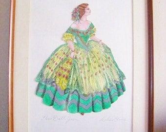 Vintage Original Hand Painted Framed Paris Ball Gown Art