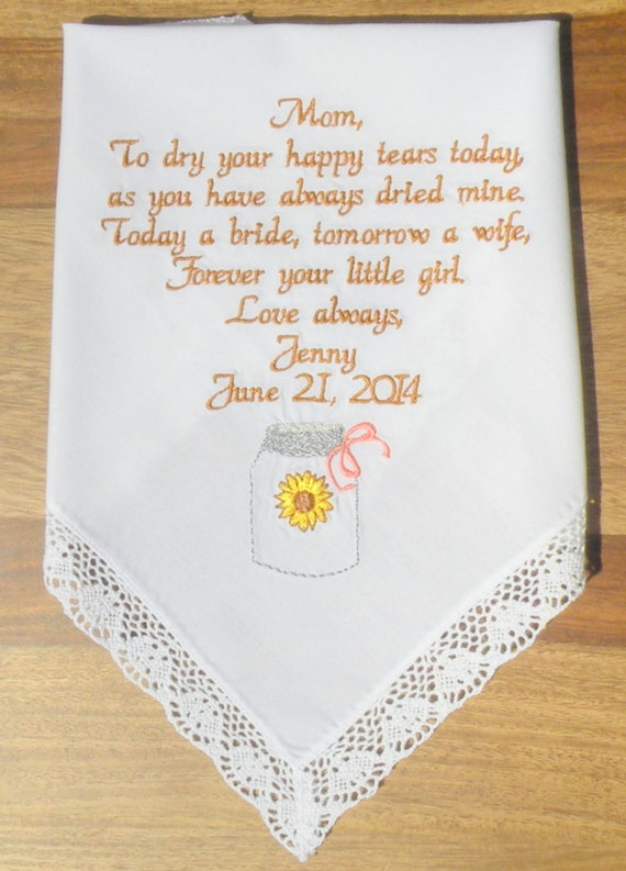 Wedding Gift Ideas Embroidered : Farm Wedding Gift Embroidered Wedding Hankerchief Mason Jar Theme ...