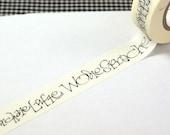 Studio Sale - washi tape - German calligraphy script on pale cream washi tape