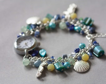 Mermaids treasure, charm bracelet watch, ocean inspired jewellery, turquoise, yellow and green watch bracelet
