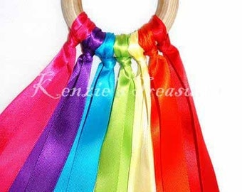 Rainbow Ribbon Hand Kite - Made With 7 Different Colors of Ribbons