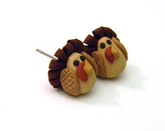 Handmade Turkey Post Earrings- Thanksgiving - Christmas Holiday - Jewelry - Unique - Polymer Clay - Animal - Surgical Steel
