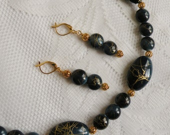 Blue Gold Vein Acrylic Necklace and Earring Set 3