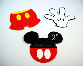 Mickey Mouse Die Cuts - Set of 12+ - Mickey Head with Buttons, Pants & Gloves - Set of 12+ - 2""