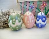 Easter Eggs -- OOAK  Porcelain Easter Eggs - Set of 3 - Handmade on the Potters Wheel - Hollow