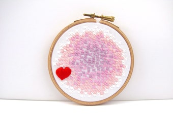 Embroidery Hoop Art . In The Hoop Embroidery. Pink & White. 4 x 4 Inch. Love and Kisses. Original Design by mirrymirry